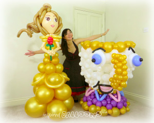 Belle and Chip balloon sculptures