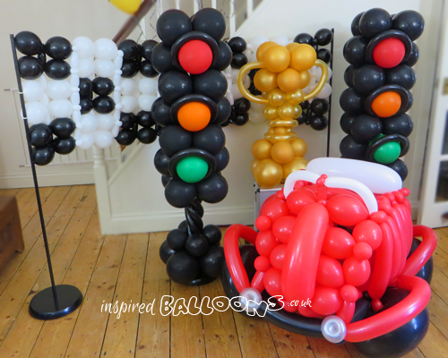 Traffic light balloon columns , balloon car, balloon racing flag